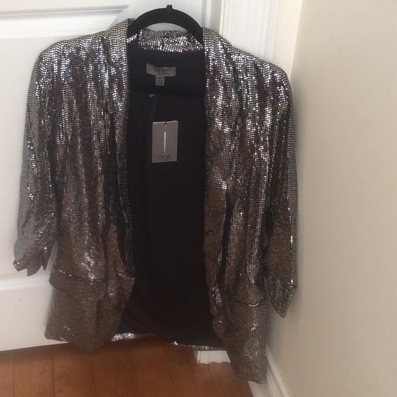 Jackets & Blazers - Loose fit metallic sequins blazer